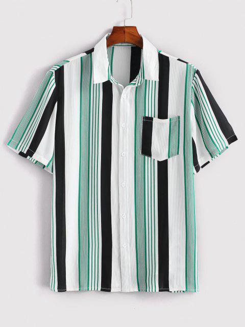 women Contrast Stripes Pocket Patch Shirt - WHITE L Mobile