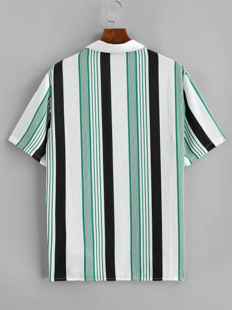 chic Contrast Stripes Pocket Patch Shirt - WHITE 2XL Mobile