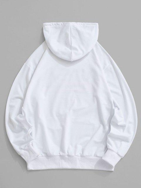 Buchstabe Grafik Amerikanische Flaggendruck Känguru Taschen Hoodie - Weiß L Mobile
