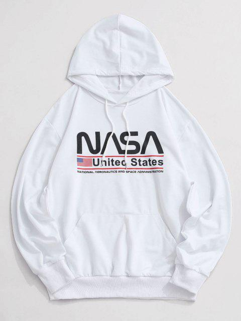 affordable Letter Graphic American Flag Pattern Kangaroo Pocket Hoodie - WHITE XL Mobile