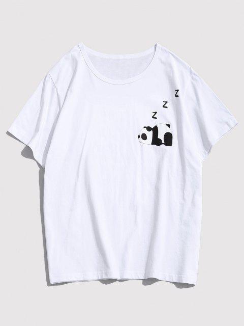 best Cartoon Panda Print Graphic T-shirt - WHITE XS Mobile