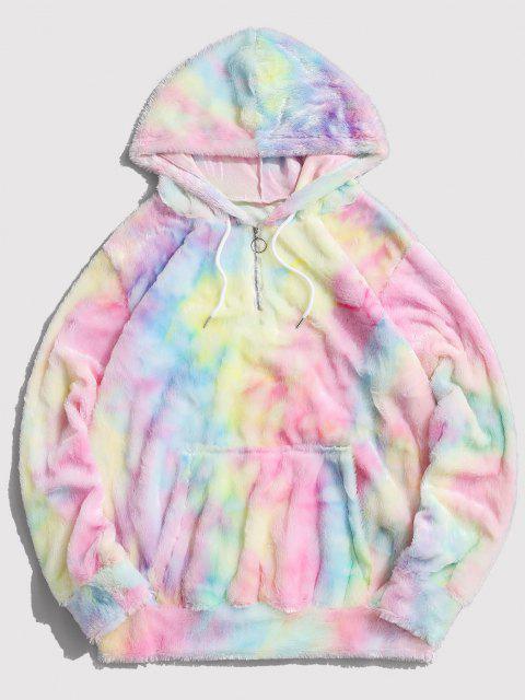 shop Tie Dye Faux Fur Ring Half Zipper Hoodie - MULTI L Mobile
