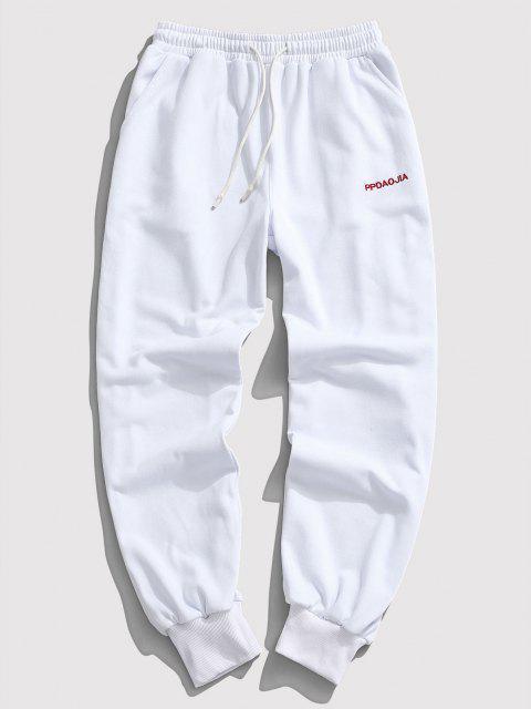 Pantalon de Jogging Lettre Brodée à Crodon - Blanc XL Mobile