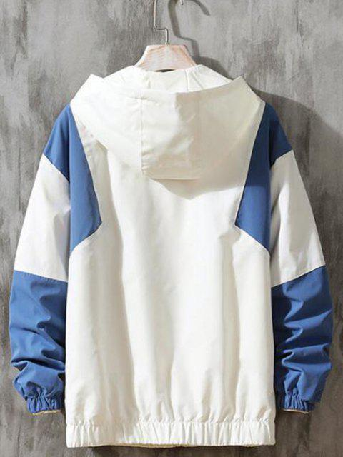 trendy Hooded Contrast Zip Up Jacket - SILK BLUE 2XL Mobile