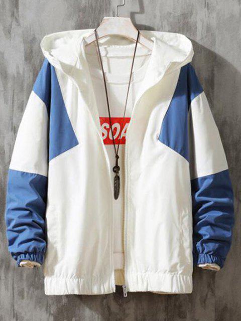 trendy Hooded Contrast Zip Up Jacket - SILK BLUE 2XL Mobile