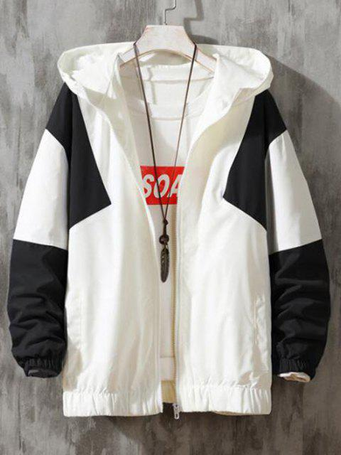 online Hooded Contrast Zip Up Jacket - WHITE XL Mobile
