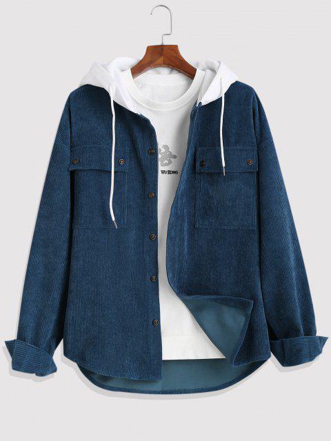 Colorblock Hooded Corduroy Shirt Jacket - ازرق غامق 3XL Mobile