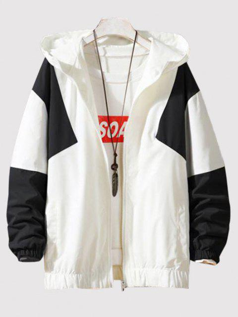 buy Hooded Contrast Zip Up Jacket - WHITE 2XL Mobile