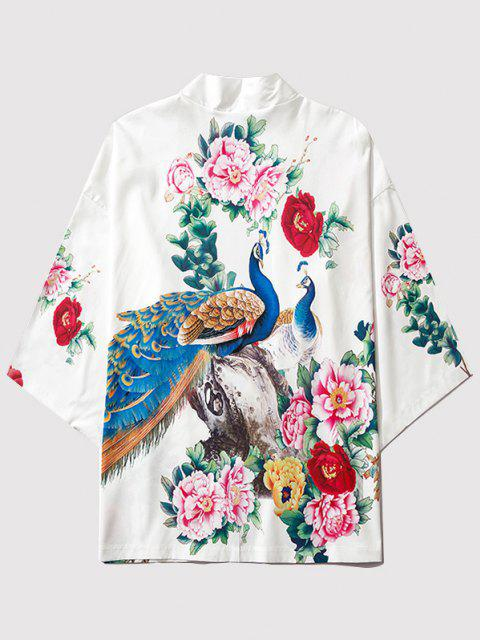 women Flower Peacock Print Chinoiserie Kimono Cardigan - MILK WHITE M Mobile