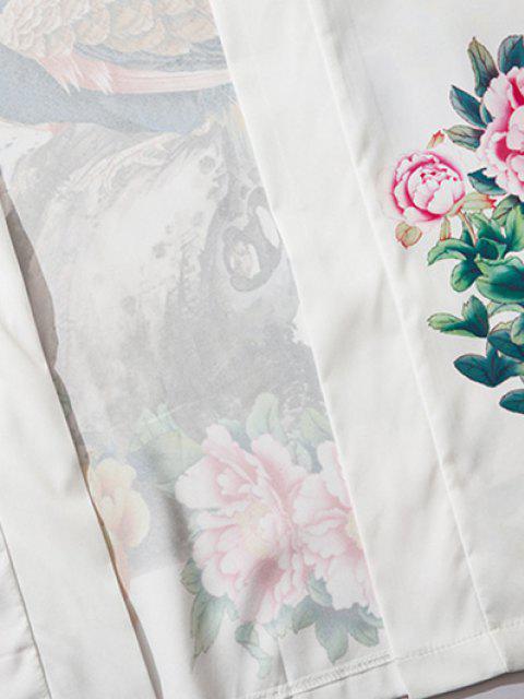 best Flower Peacock Print Chinoiserie Kimono Cardigan - MILK WHITE XL Mobile
