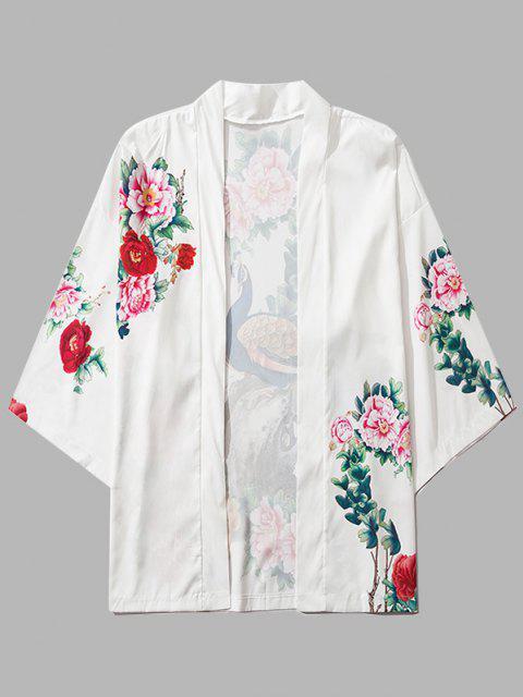 fancy Flower Peacock Print Chinoiserie Kimono Cardigan - MILK WHITE 2XL Mobile