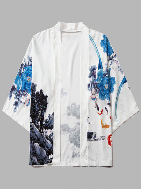 unique Flower Mountain Paint Print Chinoiserie Kimono Cardigan - MILK WHITE L Mobile