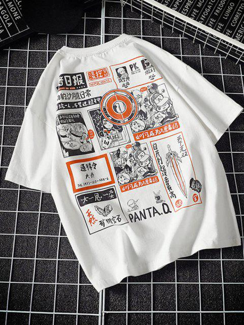 latest Comic Graphic Print Round Neck T Shirt - WHITE 2XL Mobile