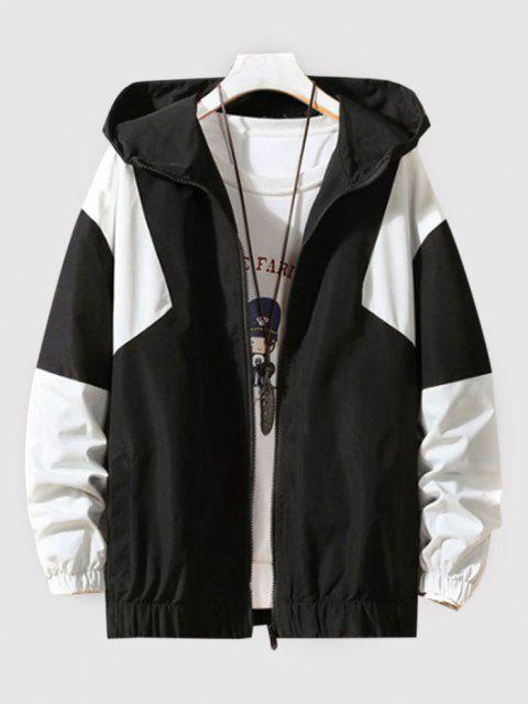women Hooded Contrast Zip Up Jacket - BLACK XL Mobile