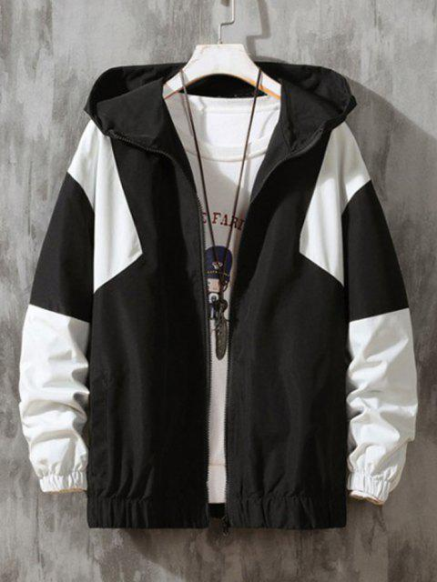 shop Hooded Contrast Zip Up Jacket - BLACK 2XL Mobile