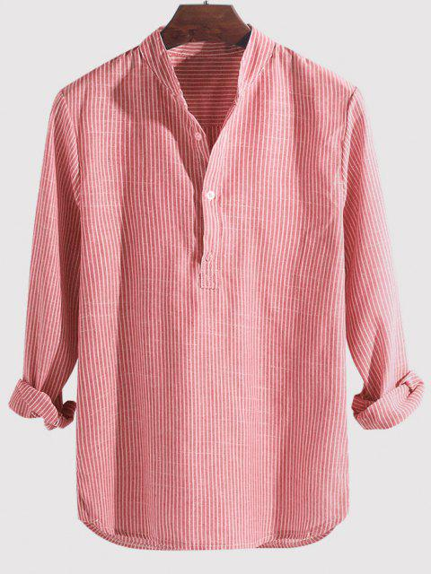 trendy Striped Print Half Button Kurta Long Sleeve Shirt - PINK 4XL Mobile
