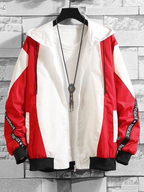 Veste à Capuche Lettre Contrastée - Rouge S Mobile