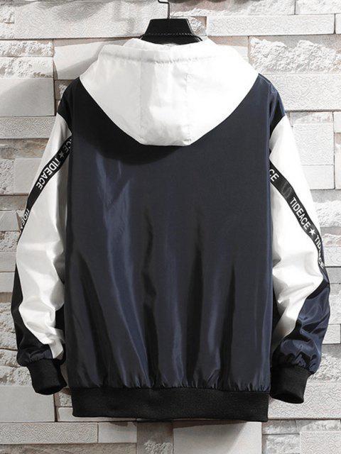 Hooded Letter Tape Contrast Jacket - منتصف الليل الأزرق S Mobile