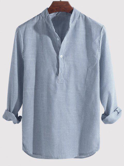 lady Striped Print Half Button Kurta Long Sleeve Shirt - SKY BLUE 4XL Mobile