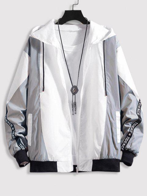 Hooded Letter Tape Contrast Jacket - اللون الرمادي 2XL Mobile
