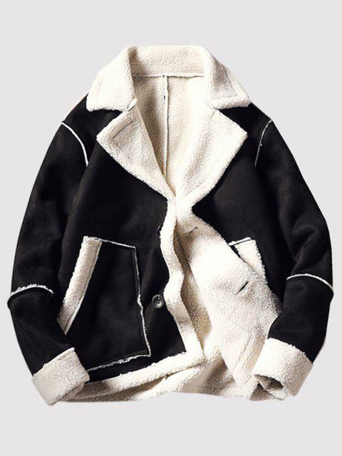 Pockets Button Up Faux Suede Faux Shearling Jacket - أسود S Mobile