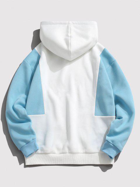 affordable ZAFUL Contrast Double Pockets Fleece Hoodie - LIGHT BLUE M Mobile