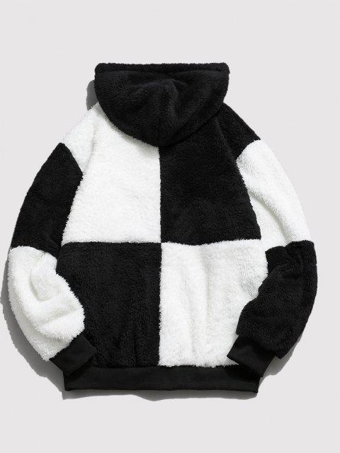 chic ZAFUL Drawstring Contrast Faux Fur Fluffy Hoodie - WHITE S Mobile