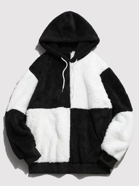 sale ZAFUL Drawstring Contrast Faux Fur Fluffy Hoodie - WHITE XL Mobile