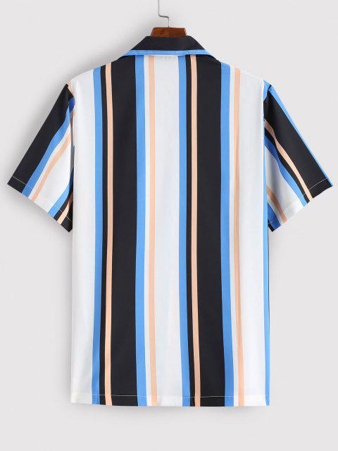 buy Striped Colorful Printed Short Sleeves Shirt - BLUE L Mobile