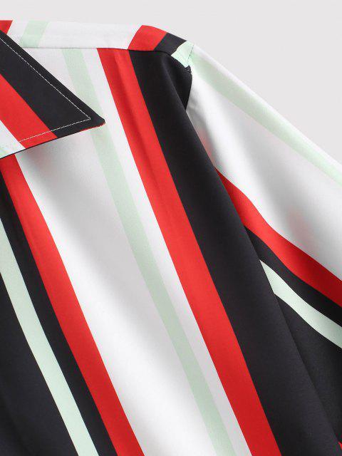 Camicia a Righe Colorate con Maniche Corte - Rosso L Mobile