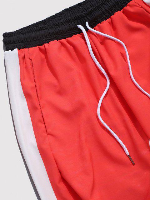 Pantalones con Estampado de Carácter Chino de Bloqueo de Color - Rojo M Mobile