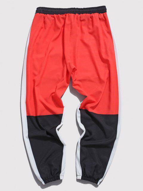 Pantalones con Estampado de Carácter Chino de Bloqueo de Color - Rojo L Mobile