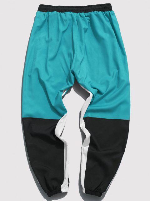 Pantalones con Estampado de Carácter Chino de Bloqueo de Color - Verde claro M Mobile