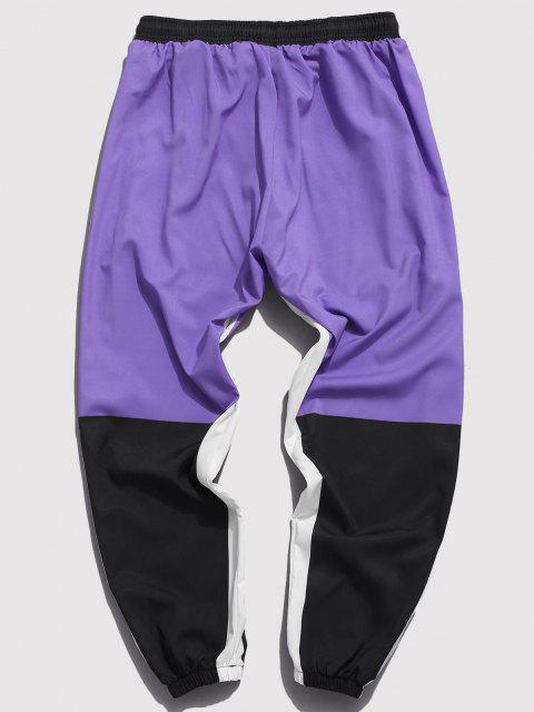 Pantalones con Estampado de Carácter Chino de Bloqueo de Color - Púrpura 2XL Mobile
