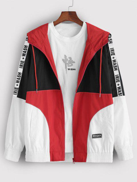 hot Colorblock Panel Letter Patch Hooded Jacket - MULTI M Mobile
