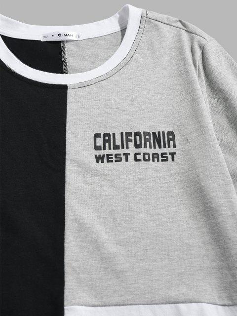best ZAFUL CALIFORNIA WEST COAST Colorblock Panel T-shirt - MULTI L Mobile
