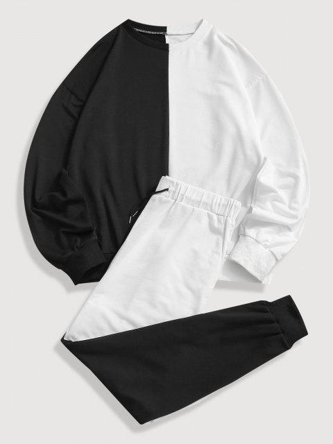 Zweifarbiges Sweatshirt und Hose Zweiteiler Set - Schwarz XL Mobile