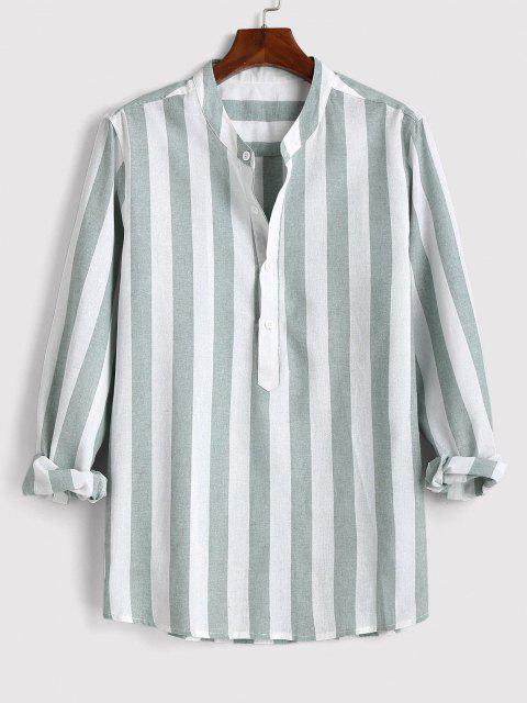 outfit Color Blocking Stripes Half Button Shirt - GREEN L Mobile