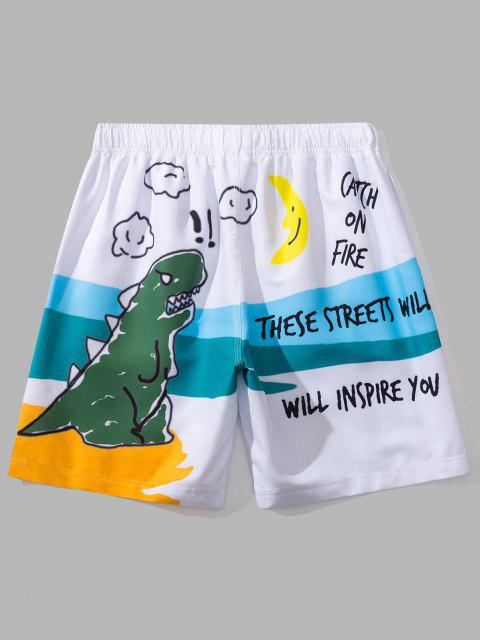 online Cartoon Dinosaur Print Graphic Casual Shorts - WHITE XL Mobile