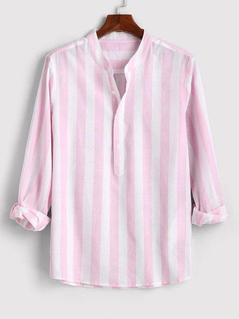 Color Blocking Stripes Half Button Shirt - وردي فاتح L Mobile
