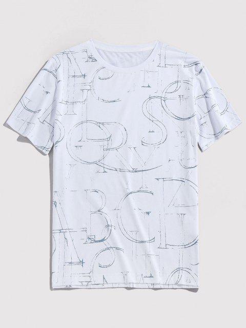 Ink Letter Print Short Sleeve Crew Neck T-shirt - أبيض XL Mobile