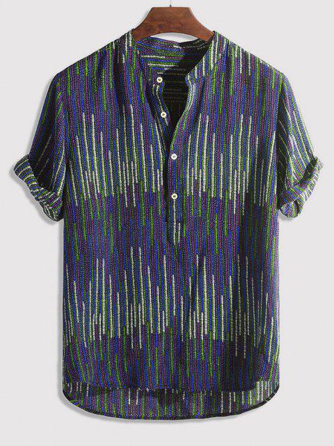 shops Half Button Striped Print High Low Shirt - MULTI-C L Mobile