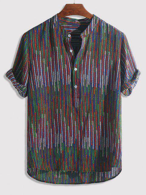 hot Half Button Striped Print High Low Shirt - MULTI-B L Mobile