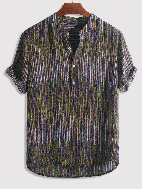 lady Half Button Striped Print High Low Shirt - MULTI-A L Mobile