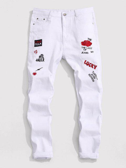 trendy Floral Letter Embroidery Zipper Fly Casual Pencil Jeans - WHITE 36 Mobile