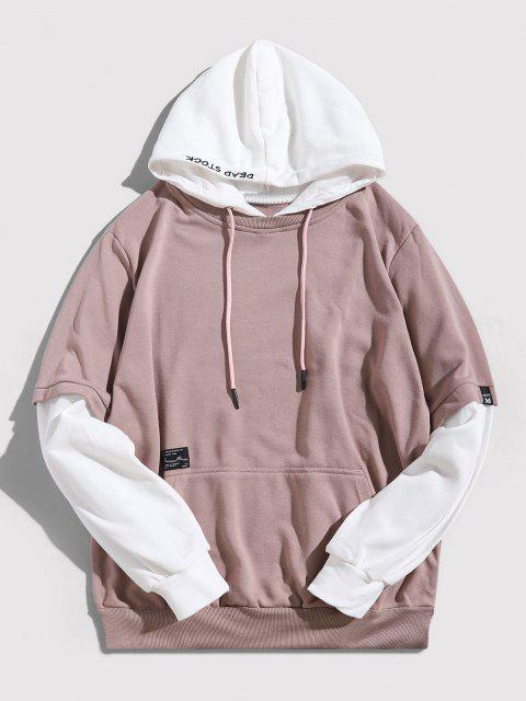 affordable Contrast Faux Twinset Letter Embroidery Drawstring Hoodie - PINK ROSE XL Mobile