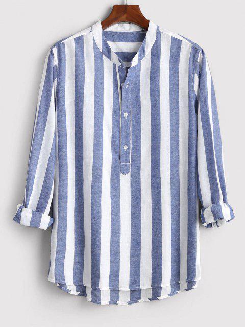 ストライプハーフボタンシャツ配色 - 青 3XL Mobile