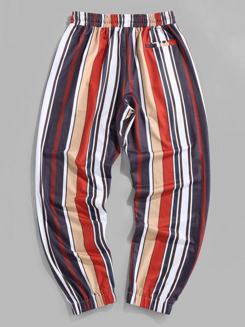 hot Contrast Stripes Print Elastic Waist Pants - MULTI S Mobile
