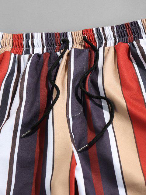 shop Contrast Stripes Print Elastic Waist Pants - MULTI XL Mobile
