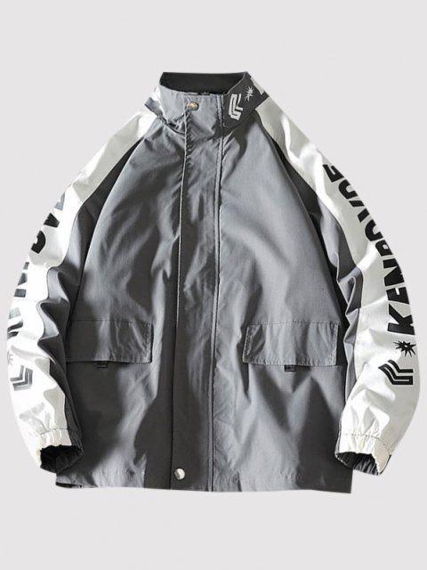 Letter Print Raglan Sleeve Zip Up Jacket - الرمادي الداكن L Mobile